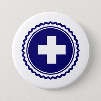 Badge Rond 7,6 Cm Croix bleue de soins de santé de premier répondeur