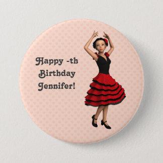 Badge Rond 7,6 Cm Danseur mignon de flamenco (personnalisé)