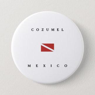 Badge Rond 7,6 Cm Drapeau de piqué de scaphandre de Cozumel Mexique
