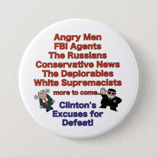 Badge Rond 7,6 Cm Excuses pour le bouton de la défaite de Clinton