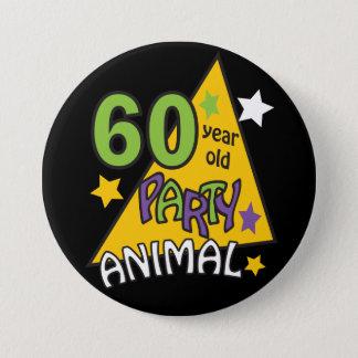 Badge Rond 7,6 Cm Fêtard de 60 ans - soixantième anniversaire