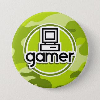 Badge Rond 7,6 Cm Gamer ; camo vert clair, camouflage