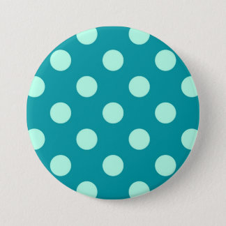 Badge Rond 7,6 Cm Grands rétros points - aqua et turquoise