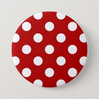 Badge Rond 7,6 Cm Grands rétros points - rouge et blanc