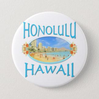 Badge Rond 7,6 Cm Honolulu Hawaï