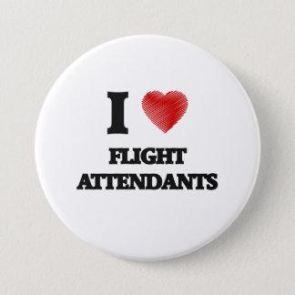 Badge Rond 7,6 Cm J'aime des stewards (hôtesse de l'air)