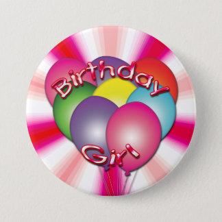 Badge Rond 7,6 Cm La fille d'anniversaire monte en ballon le bouton