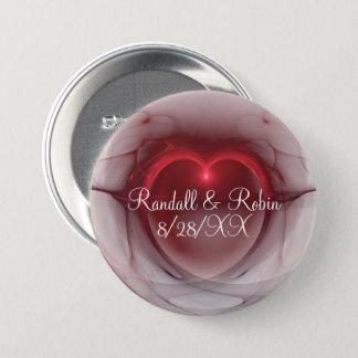 Badge Rond 7,6 Cm Modèle de coeur allumé par centre rouge d'ensemble