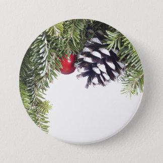 Badge Rond 7,6 Cm Modèle rouge de baie de cône de pin de guirlande