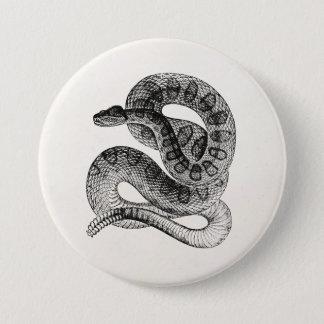 Badge Rond 7,6 Cm Modèle vintage de serpent de reptile de serpent à