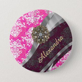 Badge Rond 7,6 Cm Motif assez girly rose personnalisé de damassé
