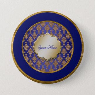 Badge Rond 7,6 Cm Or de damassé sur le bleu royal
