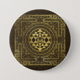 Badge Rond 7,6 Cm Or Sri Yantra/Sri Chakra