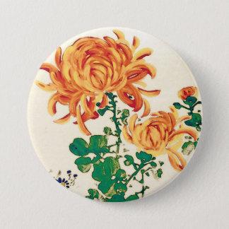 Badge Rond 7,6 Cm Peinture japonaise vintage des chrysanthèmes