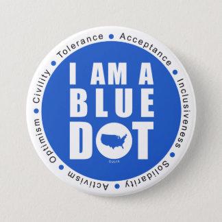 Badge Rond 7,6 Cm Point bleu Etats-Unis