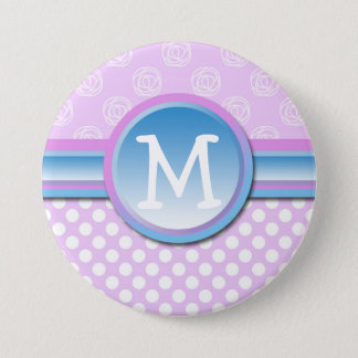 Badge Rond 7,6 Cm Point de polka lilas de monogramme