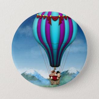 Badge Rond 7,6 Cm Porc de vol - ballon - et loin