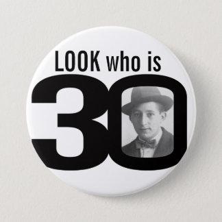 Badge Rond 7,6 Cm Regardez qui est bouton noir et blanc/insigne de