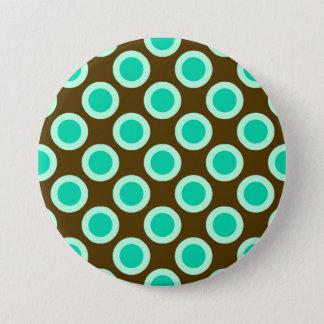 Badge Rond 7,6 Cm Rétros points cerclés, brun et turquoise