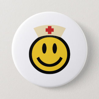 Badge Rond 7,6 Cm Smiley d'infirmière