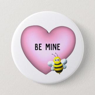 Badge Rond 7,6 Cm Soyez bourdon de mine avec le coeur gonflé rose