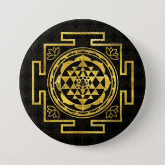 Badge Rond 7,6 Cm Sri d'or Yantra/Sri Chakra