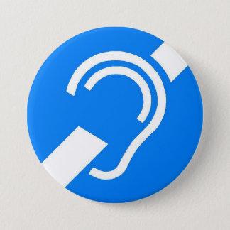 Badge Rond 7,6 Cm Symbole international pour le sourd