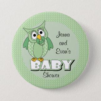 Badge Rond 7,6 Cm Thème vert de baby shower de hibou de point de