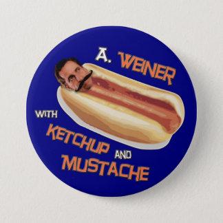 Badge Rond 7,6 Cm Un Weiner avec le ketchup et la moustache
