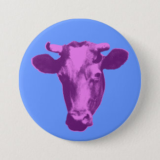 Badge Rond 7,6 Cm Vache rose et pourpre à art de bruit