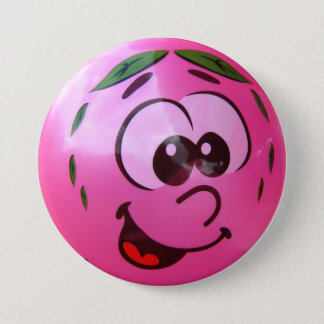 Badge Rond 7,6 Cm Visage rose de ballon