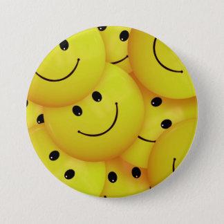 Badge Rond 7,6 Cm Visages souriants jaunes