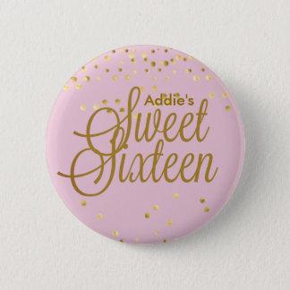 Badge Rose et bouton de sweet sixteen de point d'or