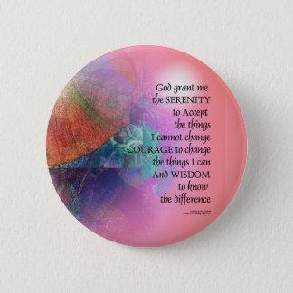 Badge Rose orange de collage de prière de sérénité