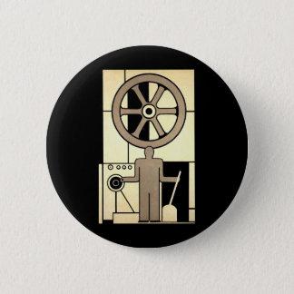 Badge Roue vintage d'affaires d'art déco et travailleur