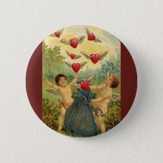 Badge Saint-Valentin victorienne vintage, coeurs d'anges