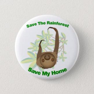 Badge Sauvez la paresse de forêt tropicale