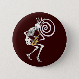 Badge Saxophone squelettique