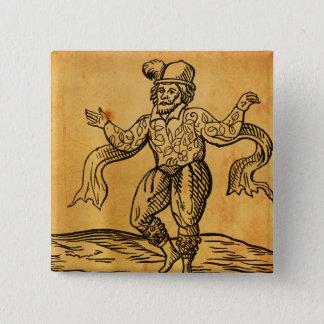 Badge Shakespeare bouton de carré de gravure sur bois en