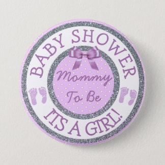Badge Son une fille, maman à être bouton de baby shower