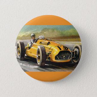 Badge Sports vintages emballant, coureur de voiture de