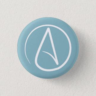 Badge Symbole athée : blanc sur gris-bleu