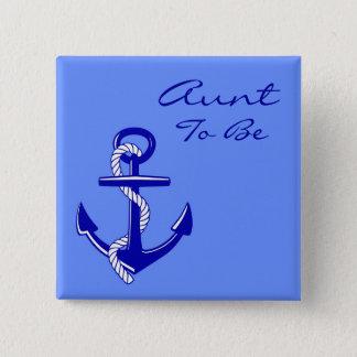 Badge Tante nautique bleue To Be Anchor Pin