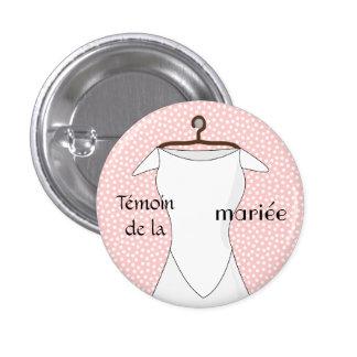 Badge témoin de la mariée rose à pois bustier