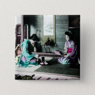 Badge Temps de thé pour deux dans le vieux geisha de cru