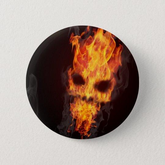 Badge Tête de mort en flammes