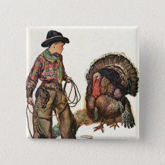 Badge Thanksgiving vintage, cowboy attrapant la Turquie