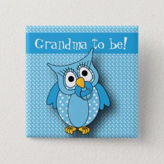 Badge Thème bleu de baby shower du hibou   de point de