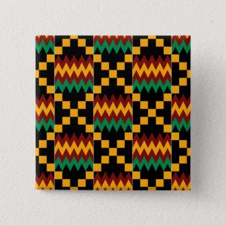 Badge Tissu noir, vert, rouge, et jaune de Kente