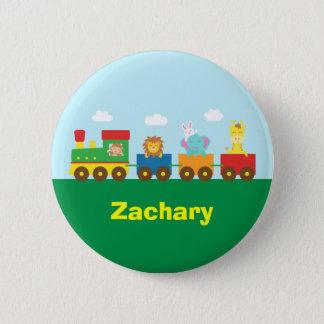 Badge Train mignon coloré d'animaux pour des enfants